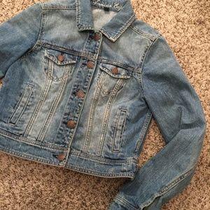 American Eagle Blue Jean Cropped Jacket